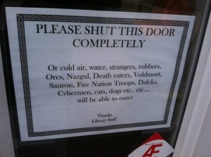 sign on a library door