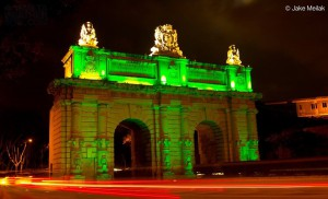 Is this a good idea Malta's historical Porte des Bombes is all lit up in green for ONE week to celebrate St Patrick's Day! A big thanks to Jake Meilak for the pic.